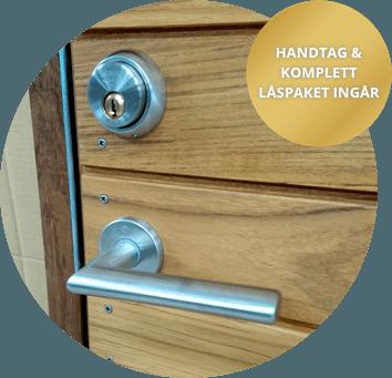 Handtag och lås ingår vid köp av ytterdörr